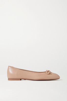 Stuart Weitzman Gabby Bow-embellished Suede-trimmed Leather Ballet Flats - Sand