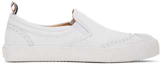 Thom Browne White Vulcanized Brogued Slip-On Sneakers