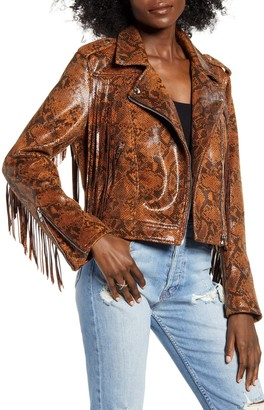 Blanknyc Denim Word of Mouth Snake Print Faux Leather Jacket