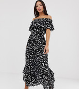Asos Tall DESIGN Tall off shoulder beach maxi dress with ruffle in spot print