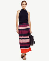 Ann Taylor Petite Stripe Pleated Midi Skirt