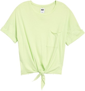 NSF Arlene Front Tie Crop Pocket T-Shirt