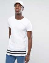 Selected Long Line Tshirt with Striped Hem
