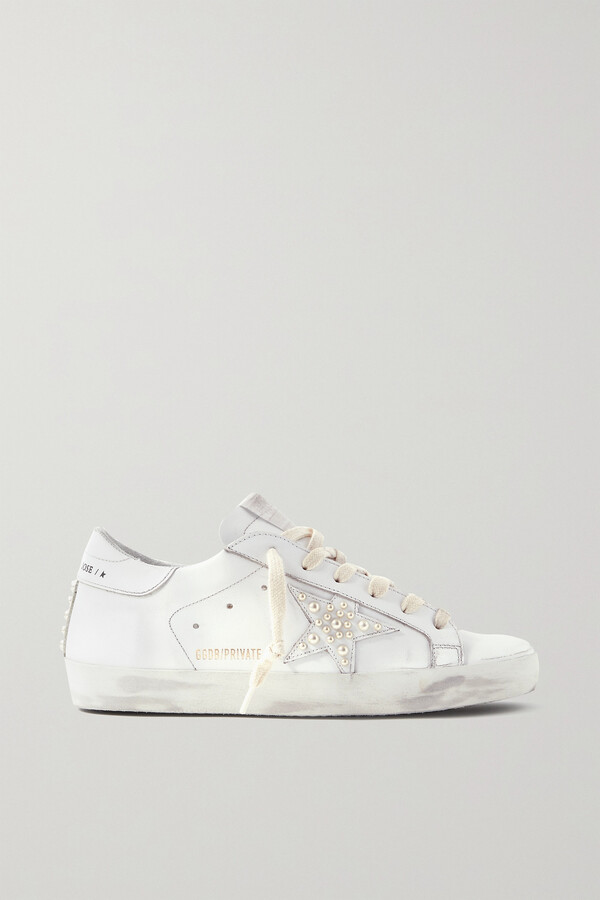 Golden Goose Superstar Faux Pearl-embellished Distressed Leather Sneakers - White