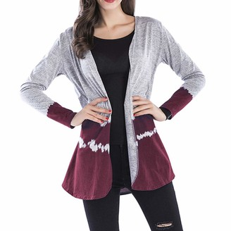 Yczx Women's Jackets Long Sleeves Open Front Lightweight Thin Cardigans Casual Loose Comfy Cardigan Stylish Patchwork Outwear Casual Daily Wear Elegant Tops XXL