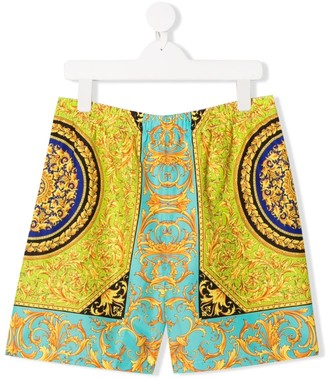 Versace TEEN baroque print swim shorts