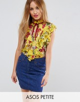Asos Yellow Floral Sleeveless Blouse with Ruffle Front