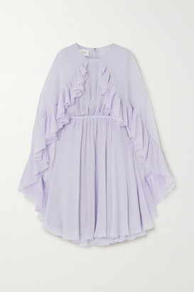 Giambattista Valli Cape-effect Ruffled Silk-georgette Mini Dress - Lilac