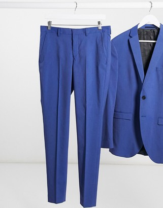 Selected blue skinny fit tuxedo stripe suit trousers
