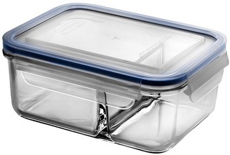 Glasslock Classic Rectangular Dual Compartment Tempered Glass Clip-Top Food Container 1L