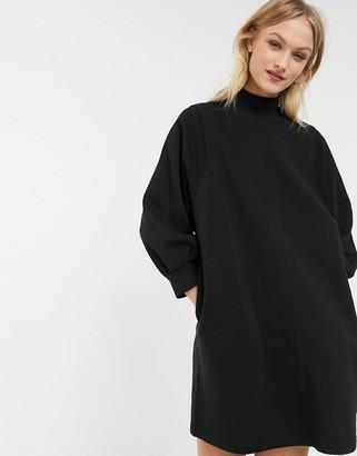 Monki mock neck balloon sleeves mini sweat dress in black