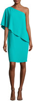 Carmen Marc Valvo One-Shoulder Asymmetric Popover Cocktail Dress, Jade