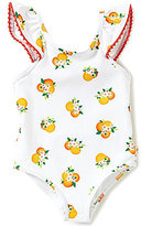 Kate Spade Baby Girls 12-24 Months One-Piece Floral/Orange-Print Ruffle Bow Pom-Pom Trim Swimsuit