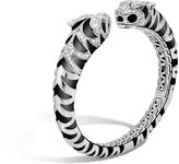 John Hardy Women's Legends Macan Double Head Kick Cuff in Sterling Silver with Pave White Diamond (1.78ct)