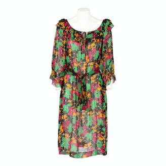 Oleg Cassini Multicolour Silk Dress for Women Vintage