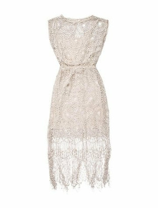 Alice + Olivia Fringe-Trimmed Lace Dress Champagne