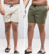 Asos Plus Swim Shorts 2 Pack In Khaki & Stone Mid Length Save
