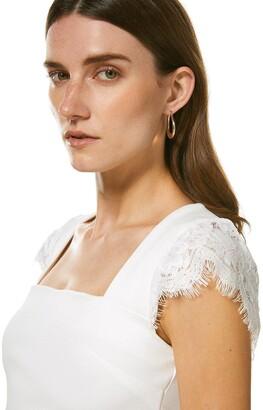 Karen Millen Lace Shoulder Square Neck Ponte Top