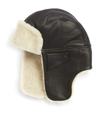 UGG Shearling & Leather Trapper Hat