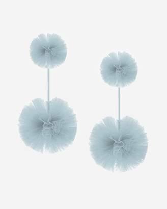 Express Tuleste Monochomatic Double Tulle Pom Pom Earrings