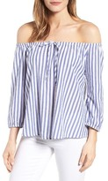 Velvet by Graham & Spencer Women's Stripe Cotton Off The Shoulder Top