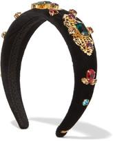 Dolce & Gabbana Embellished Velvet Headband - Black