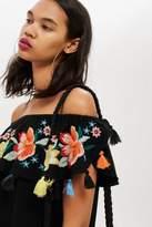 Petite tassel embroidered bardot dress