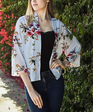 Leto Collection Women's Kimono Cardigans WHITE - White Floral Bell-Sleeve Kimono - Women
