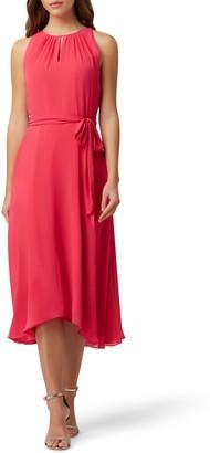 Tahari Sleeveless Tie Waist Chiffon Midi Dress