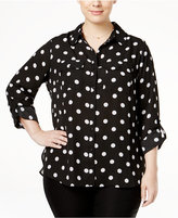 NY Collection Plus Size Printed Utility Shirt