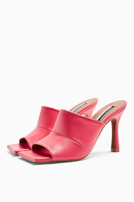 Topshop Womens Nirvana Leather Pink Seam Detail Mules - Fuchsia