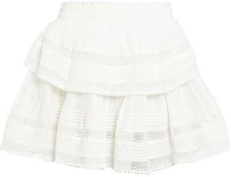 LoveShackFancy Ruffled Lace-Trim Cotton Skirt