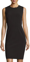 Neiman Marcus Odette Sleeveless Ponte Sheath Dress, Black