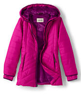 Lands' End Girls Primaloft Fleece Lined Parka-Deep Pink