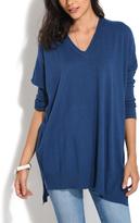 Everest Blue V-Neck Hi-Low Dolman Sweater - Plus Too