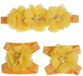 Coromose Colorful Foot Flower Barefoot Sandals + Headband Set for Baby