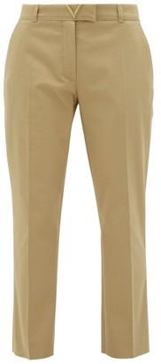 Valentino V-logo Cotton-gabardine Cigarette Trousers - Womens - Beige