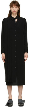 Yohji Yamamoto Black Pleated Shirt Dress