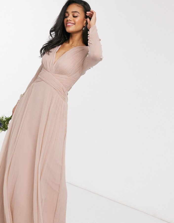 Asos Design DESIGN Bridesmaid ruched waist maxi dress with long sleeves and pleat skirt