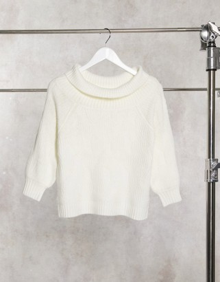 Miss Selfridge bardot sweater in cream