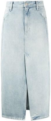 IRO Slit Detail Denim Midi Skirt