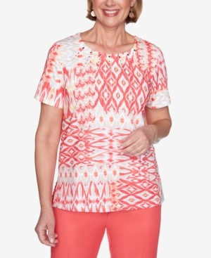 Alfred Dunner Ikat Patchwork Short Sleeve Knit Top
