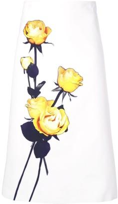 Prada rose print A-line skirt