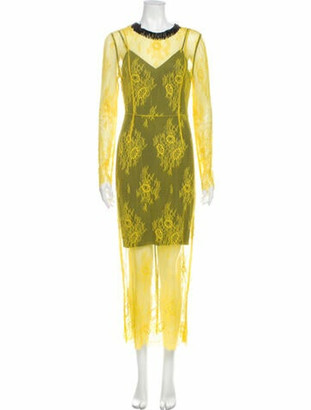 Diane von Furstenberg Lace Pattern Long Dress Yellow