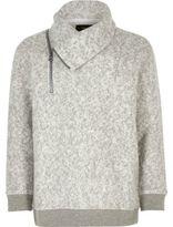 River Island Boys grey soft zip funnel neck sweatshirt