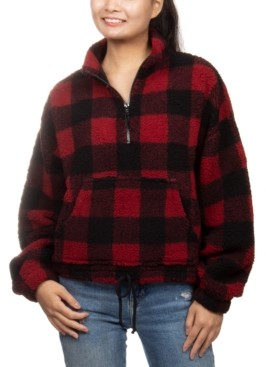 Hippie Rose Juniors' Buffalo Plaid Sherpa Quarter-Zip Pullover