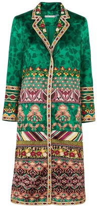 Alice + Olivia Linda printed and embroidered satin jacket
