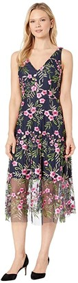 Vince Camuto Embroidered Mesh Double V-Neck Midi (Navy Multi) Women's Clothing