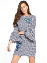 Warehouse Delia Embroidery Gingham Shift Dress - Navy