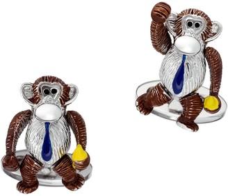 Jan Leslie Sterling Silver Moving Monkey Cufflinks